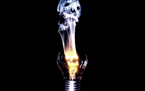 wallpaper, скачать, черный, череп, дым, дух, light, лампочка, спираль, разбитая, смерть,