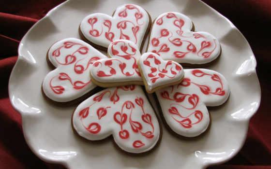 тарелка, глазурь, печенье, сердечки, узоры