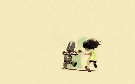девочка танцует с роботом