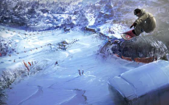 snowboard, снег, сноубордист