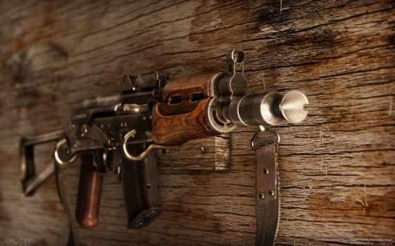 АКС74У на деревянной стене