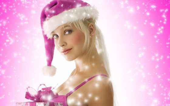 girl, blond, christmas