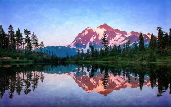 landscape, озеро, горы