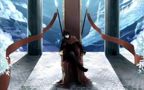 трон, дракон, art, парень, рыбы, копья, мантия, перчатки, мужчина,
