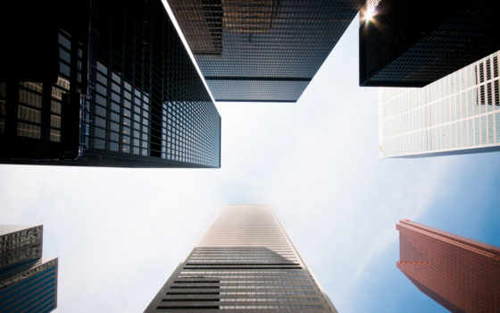 небоскребы, небо, oblaka, города, небоскреб,