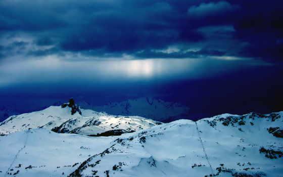 природа, небо, самые, снег, красивые, winter, гора, whistler, горы, тучи,