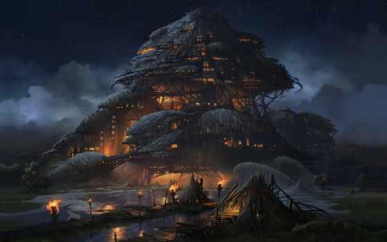 fantasy, art, aaron, ночь, limonick, город,