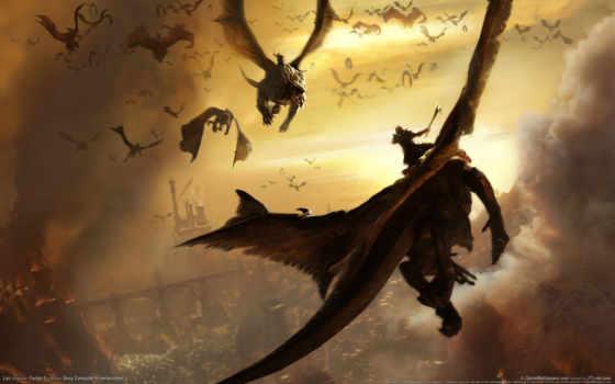 сражение, lair, драконы, всадники, огне, город, война, фэнтези, монстр, фантастика, картинка, dragon,