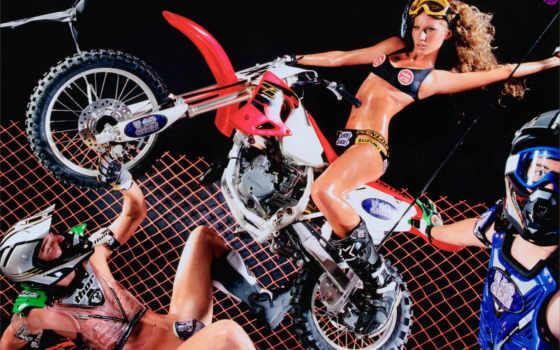 мотоцикл, блондинка