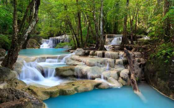 водопад, trees, озеро