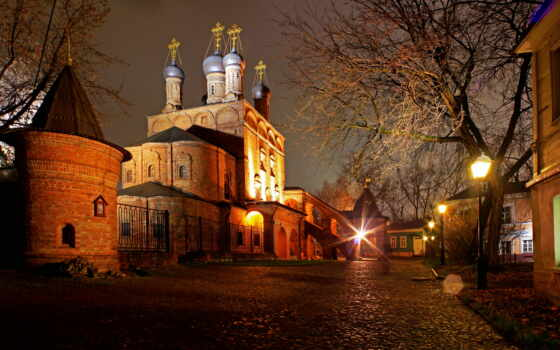 москва, ночь, города