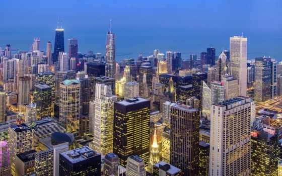 chicago, город, иллинойс, сша, небоскребы, огни, usa, вечер,