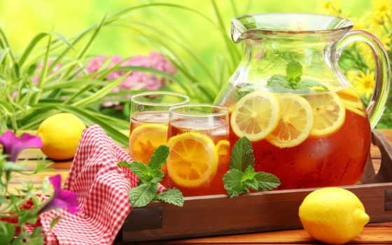 чая, холод, графин, салфетка, стаканы, lemon, мята, напиток,