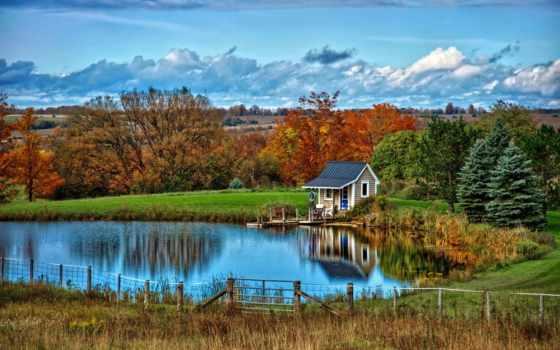 озеро, house, природа, landscape, кабина, desktop, осень,