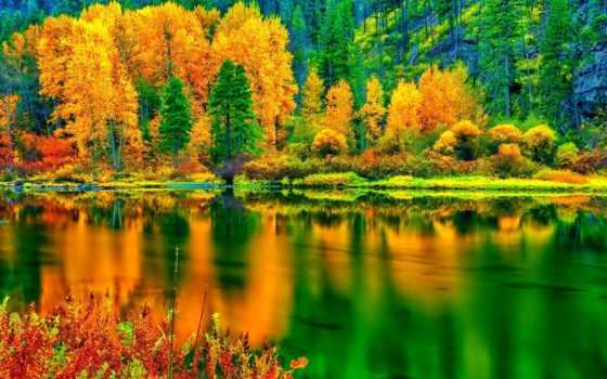 лес, осень, trees, озеро, water, отражение, склон, природа, click, one, озера,