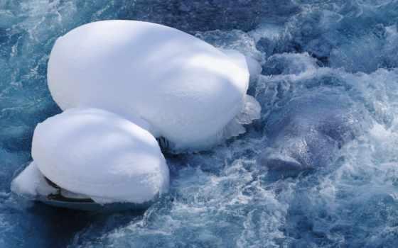 природа, поток, снега, гора, шапки, снег, лед, ущелье, корабли,