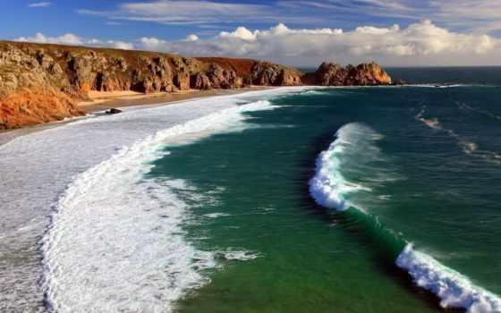 моря, синего, пляж, porthcurno, cornwall, valniko, информация, цитата,