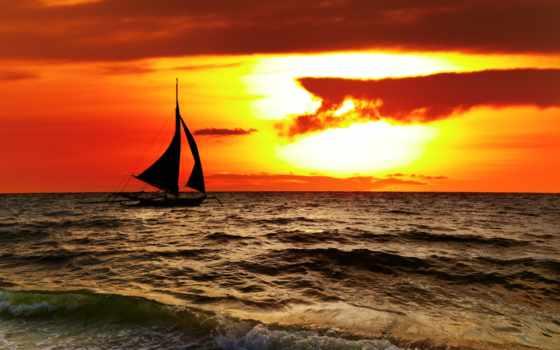 philippines, закат, scenery, tropical, boracay, море, stock, sailboat, clouds, landscape, небо,