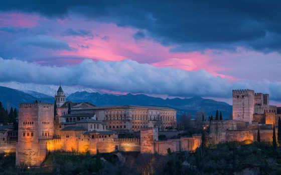 alhambra, испания, картинка, вечер,