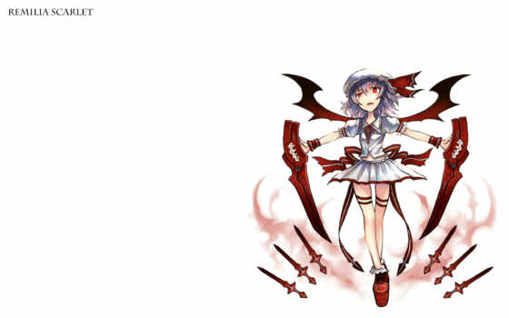 hair, giá, remilia, scarlet, touhou, purple, fba, red, eyes, fang, skirt, short, hat, dec, sword, konachan, post, weapon, wings,