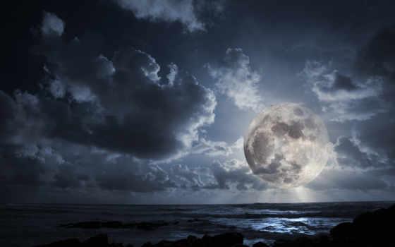 луна, ночь, океан, вечер, светила, облака, ясная, тот, full,