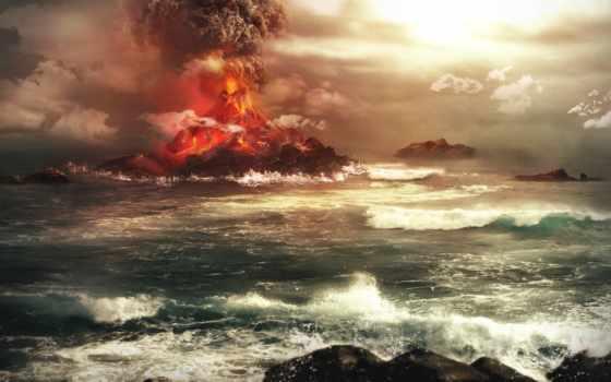 вулкан, извержение, море