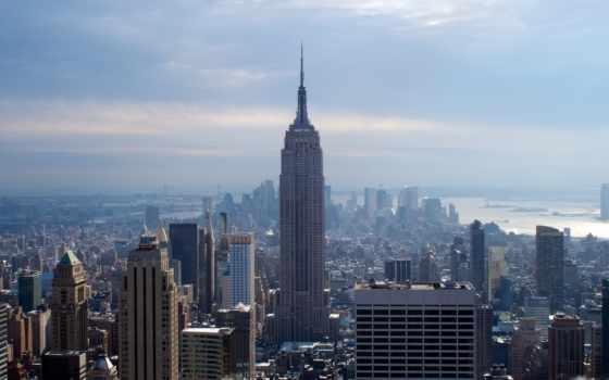 нью, york, winter, город, new, небоскребы,