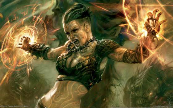 fantasy, фэнтези, девушка, магия, art, воин,