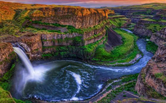 природа, скалы, falls, palouse, заставки, водопад, summer, каньон, зелёный,