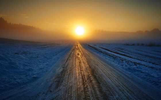 снег, winter, закат, дорога, природа, горизонт,