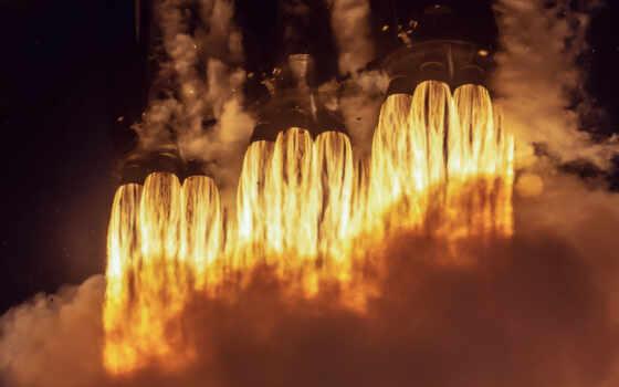 falcon, heavy, spacex, rocket, космос, launch, огонь, warm, авианосец, cape