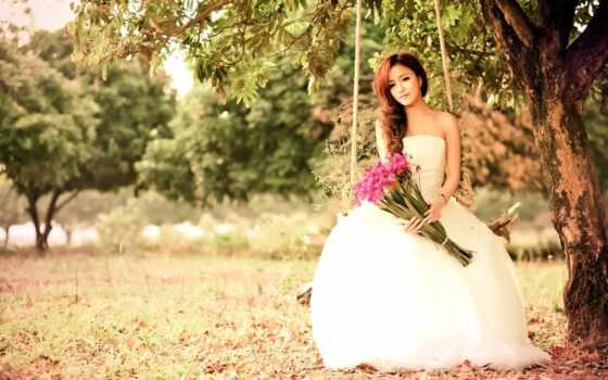 платье, wed, цветы, white, невеста, dream, фото, спать, свадебный, букет