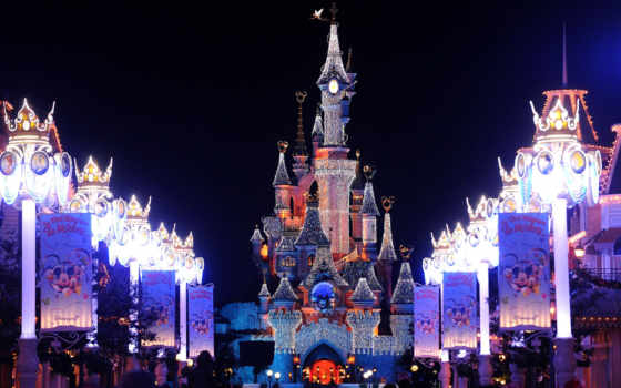 disneyland, франция, париж, замок, год, огни, new, украшения,