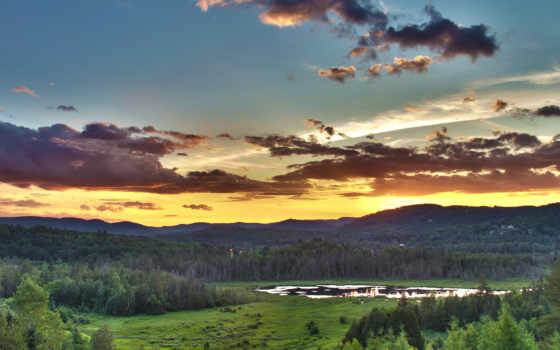 tranquility, оранжевый, serenity, небо, закат,