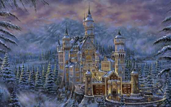 рисунок, castle, горы