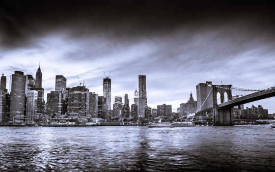 new, york, skyline, black, white, город,