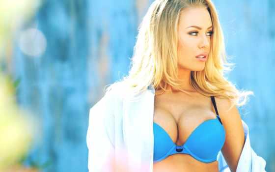 devushki, девушка, лифчик, blue, голубом, купальнике, blonde, рубашке,