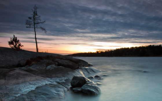 natureza, noite, lago, природа, árvores, paisagem, floresta, para, sons, дек,