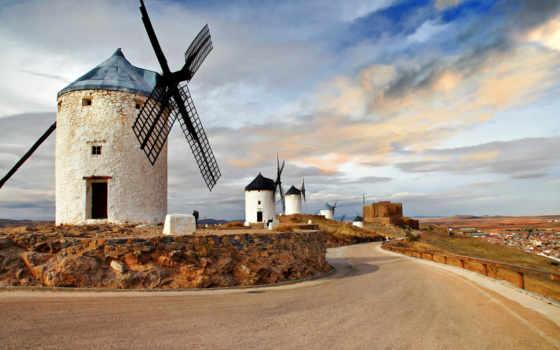 картинка, мельницы, royalty, фри, ветряные, испании, фотообои, картинок, изображений, стиле, нарисованном,