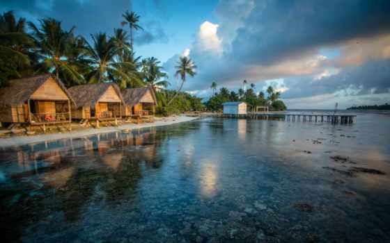 бунгало, море, пляж, water, небо, полинезия, французская, побережье, берег,