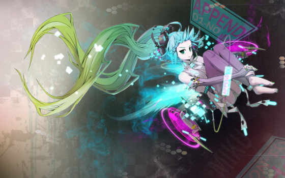 anime, волосы, вокалоид, синие, art, miku, гравитация, nightcore, девушка, елочка,