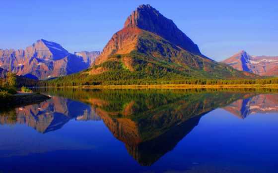 озеро, glacier, гора, national, park, montana, сша, usa, state