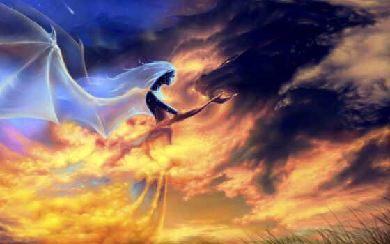 дракон, девушка, fantasy, vyryvatsya, sprinkle, эти, отчаянные