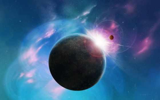 космос, голубой, розовый, планета, звезды, stars, картинку, картинка,