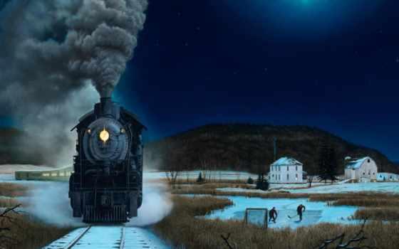 поезд, ночь, winter