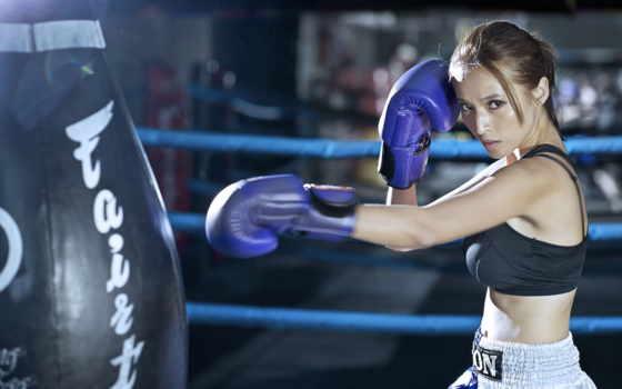 бокс, девушка, спорт
