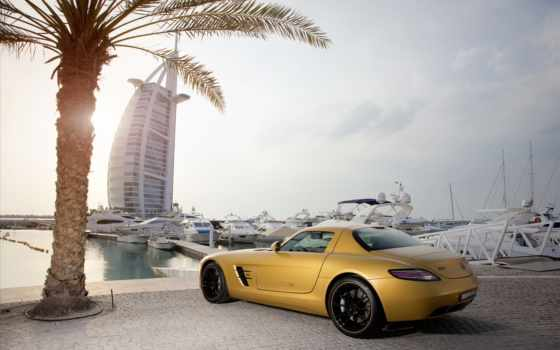 burj, аль, арабский, dubai, mercedes, car, bens, город, abstract,
