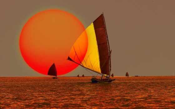barco, сол, vela, oceano, arte, мар, del, puesta, fondos, gratis,