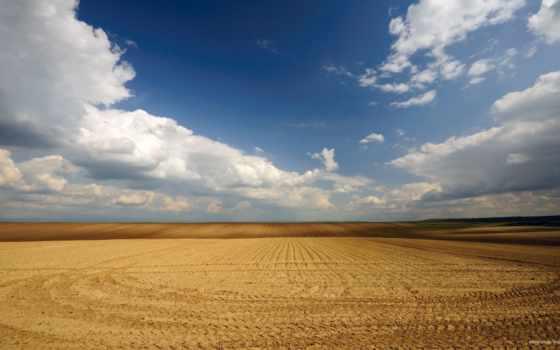 поле, небо, oblaka, пустота, объемные,