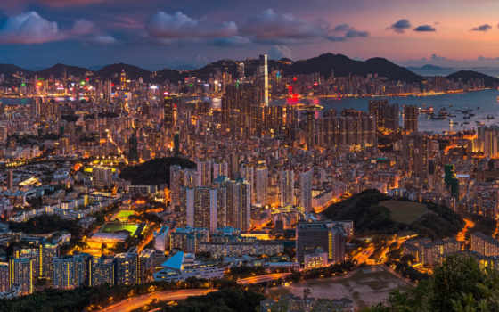china, hong, город, kong, ночь, китаянка, панорама,